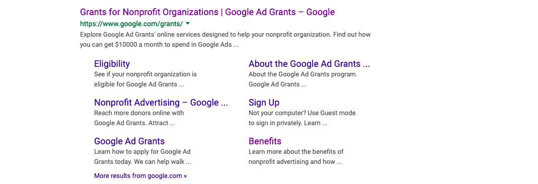 Google Non profit grants
